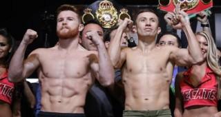 """El mexicano Saúl """"Canelo"""" Álvarez (izquierda) y el kazajo Gennady Golovkin posan durante la ceremonia de pesaje previa a su pelea en Las Vegas. (AP John Locher, archivo)"""